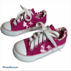 Converse pink dots sneakers size 6 EUC